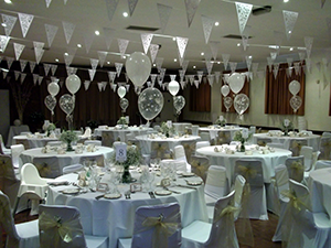 Village Hall decorated for a wedding